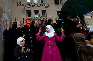 Women pray during friday prayers in the square in Benghazi. Open prayer was banned as was attending mosques during Qadaffi's rule on March 4, 2011.