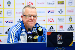 November 20, 2018 - Stockholm, SWEDEN - 181120 head coach Janne Andersson of Sweden during a press conference after the Nations League football match between Sweden and Russia on November 20, 2018 in Stockholm  (Credit Image: © Simon HastegRd/Bildbyran via ZUMA Press)