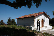 The small chapel Agios Panteleon. Ithaca, Greece. Ithaca, Greece. The Greek island is situated in the Ionian Sea off the northeast coast of Kefalonia. Since antiquity, Ithaca has been identified as the home of the mythological hero Odysseus.