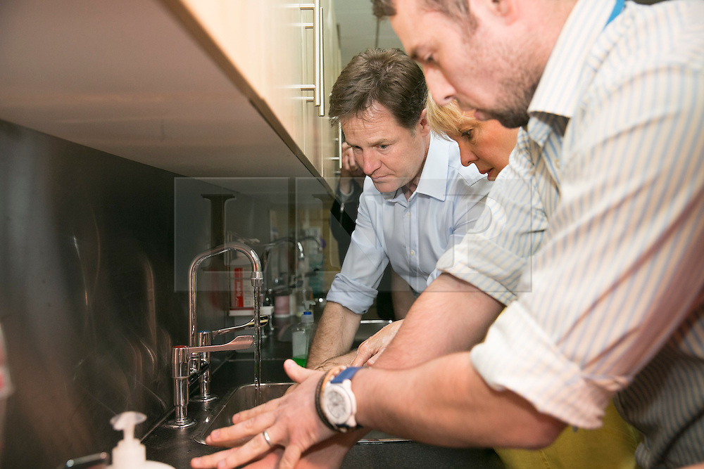 © Licensed to London News Pictures. 01/05/2015. Solihull, West Midlands, UK. Deputy Prime Minister Nick Clegg visiting Solihull College to meet Health and Social Care students. Nick Clegg learns how to wash his hands properly. Photo credit : Dave Warren/LNP