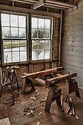 USA, Oregon, Thompson's Mills State Heritage Site, Interior Display, hand hewn demonstration, digital composite, HDR