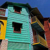 South America, Argentina, Buenos Aires. Colorful architecture of La Boca neighborhood.