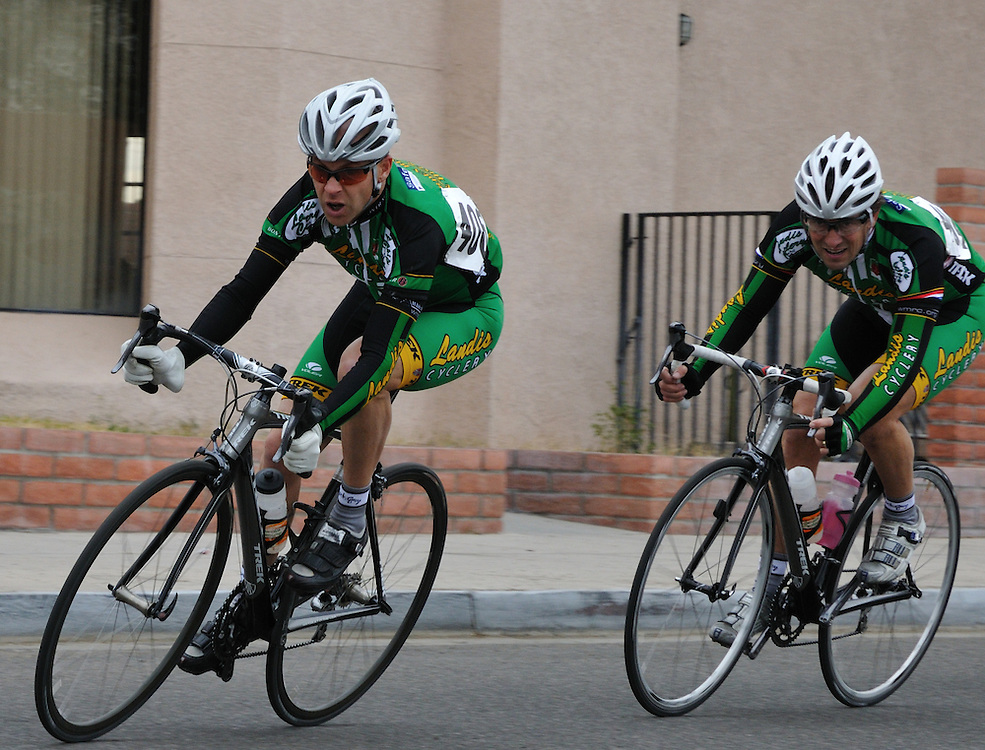 Riders cornering in the 2011 UA Criterium bicycle race, Tucson, Arizona. Bike-tography by Martha Retallick.