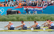 Eton Dorney, Windsor, Great Britain,..2012 London Olympic Regatta, Dorney Lake. Eton Rowing Centre, Berkshire[ Rowing]..Silver medalist, GBR M4-   Bow Alex GREGORY, Peter REED, Tom JAMES and Andy TRIGGS HODGE, qualify for the final of  Men's Four.  Dorney Lake. 10:15:51  Thursday  02/08/2012 [Mandatory Credit: Peter Spurrier/Intersport Images]  .