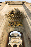 Entrance arch at Suleymaniye Mosque in Istanbul, Republic of Turkey