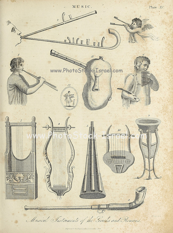 Music Instruments Of the Greeks and Romans Copperplate engraving From the Encyclopaedia Londinensis or, Universal dictionary of arts, sciences, and literature; Volume XVI;  Edited by Wilkes, John. Published in London in 1819