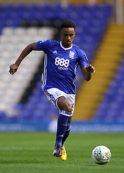 """Birmingham City's Cohen Bramall during the Carabao Cup, Second Round match at St Andrew's, Birmingham. PRESS ASSOCIATION Photo. Picture date: Tuesday August 22, 2017. See PA story SOCCER Birmingham. Photo credit should read: David Davies/PA Wire. RESTRICTIONS: EDITORIAL USE ONLY No use with unauthorised audio, video, data, fixture lists, club/league logos or """"live"""" services. Online in-match use limited to 75 images, no video emulation. No use in betting, games or single club/league/player publications."""