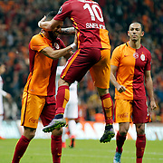 Galatasaray's Yasin Oztekin (L) and Wesley Sneijder (C) during their Turkish Super League soccer match Galatasaray between Genclerbirligi at the AliSamiYen Spor Kompleksi TT Arena at Seyrantepe in Istanbul Turkey on Saturday, 17 October 2015. Photo by Kurtulus YILMAZ/TURKPIX