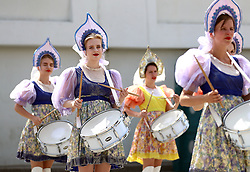 A drum procession before the game