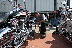Harley-Davidson designer Ray Drea judges the bike show at the Harley-Davidson Museum, where the multi-acre campus acted as the central rally point during the Harley-Davidson 115th Anniversary Celebration event. Milwaukee, WI. USA. Sunday September 2, 2018. Photography ©2018 Michael Lichter.