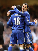 Photo: Rich Eaton.<br /> <br /> Chelsea v Arsenal. Carling Cup Final. 25/02/2007. Ricardo Carvalho right congratulates Wayne Bridge of Chelsea after their  victory over Arsenal by 2 goals to 1
