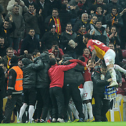 Galatasaray's Selcuk Inan celebrate his goal with team mate during their Turkish Super League soccer match Galatasaray between Manisaspor at the TT Arena at Seyrantepe in Istanbul Turkey on Wednesday, 21 December 2011. Photo by TURKPIX