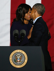 November 7, 2016 - Philadelphia, PA, U.S - President Barack Obama hugs first lady Michelle Obama during a campaign event  for Democratic presidential candidate Hillary Clinton on Independence Mall in Philadelphia, November 7, 2016. (Credit Image: © Gary Hershorn via ZUMA Wire)