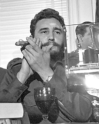 Prime Minister Fidel Castro of Cuba addresses a National Press Club luncheon in Washington, DC, USA, on April 20, 1959. His appearance came less than four months after he seized power in Cuba and he said he had no dictatorial ambitions. Photo by Benjamin E. 'Gene' Forte/CNP/ABACAPRESS.COM Photo by Arnie Sachs/CNP/ABACAPRESS.COM