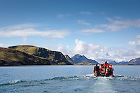 Silgt á Langasjó. On a Zodiac on lake Langisjor.