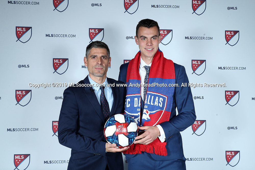 CHICAGO, IL - JANUARY 11: Callum Montgomery was taken with the fourth overall pick by FC Dallas. With head coach Luchi Gonzalez (left). The MLS SuperDraft 2019 presented by adidas was held on January 11, 2019 at McCormick Place in Chicago, IL.