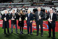 David Gold, the co-owner of West Ham United (far left) and Trevor Brooking (Second from the right) look  on during a Holocaust Memorial Day ceremony before k/o. Premier league match, West Ham Utd v Manchester city at the London Stadium, Queen Elizabeth Olympic Park in London on Wednesday 1st February 2017.<br /> pic by John Patrick Fletcher, Andrew Orchard sports photography.