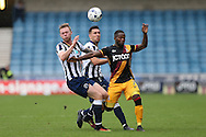 Aiden O'Brien of Millwall (l), and Joe Martin of Millwall challenge Mark Marshall of Bradford City ®. EFL Skybet football league one match, Millwall v Bradford city at The Den in London on Saturday 3rd September 2016.<br /> pic by John Patrick Fletcher, Andrew Orchard sports photography.