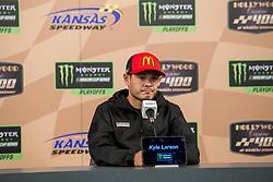 October 19, 2018 - Kansas City, Kansas, United States of America - Kyle Larson (42) speaks to the media prior to practice for the Hollywood Casino 400 at Kansas Speedway in Kansas City, Kansas. (Credit Image: © Justin R. Noe Asp Inc/ASP via ZUMA Wire)