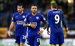 Christian Fuchs, Jamie Vardy and Danny Simpson of Leicester City look frustrated and angry after their sides defeat to Burnley - Mandatory by-line: Robbie Stephenson/JMP - 31/01/2017 - FOOTBALL - Turf Moor - Burnley, England - Burnley v Leicester City - Premier League