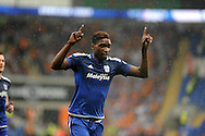 Sammy Ameobi of Cardiff city celebrates after he scores his teams 2nd goal  Skybet football league championship match, Cardiff city v Wolverhampton Wanderers at the Cardiff city stadium in Cardiff, South Wales on Saturday 22nd August 2015.<br /> pic by Carl Robertson, Andrew Orchard sports photography.