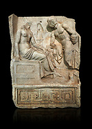 """Roman Sebasteion relief  sculpture of Io and Argos Aphrodisias Museum, Aphrodisias, Turkey.   Against a black background.<br /> <br /> A powerful hero is folding a sword gazing closely at a half naked and dishevelled young heroine who sits on a chest like stool. Between, on a pillar base stood a small, separately added statue of a goddess ( now missing). The scene follows a scheme used in the relief panels """"Io guarded by Argos"""". Io was one of Zeus's lovers, and Argos was a watchful giant sent to guard her by Hera, Zeus's wife. .<br /> <br /> If you prefer to buy from our ALAMY STOCK LIBRARY page at https://www.alamy.com/portfolio/paul-williams-funkystock/greco-roman-sculptures.html . Type -    Aphrodisias     - into LOWER SEARCH WITHIN GALLERY box - Refine search by adding a subject, place, background colour, museum etc.<br /> <br /> Visit our ROMAN WORLD PHOTO COLLECTIONS for more photos to download or buy as wall art prints https://funkystock.photoshelter.com/gallery-collection/The-Romans-Art-Artefacts-Antiquities-Historic-Sites-Pictures-Images/C0000r2uLJJo9_s0"""