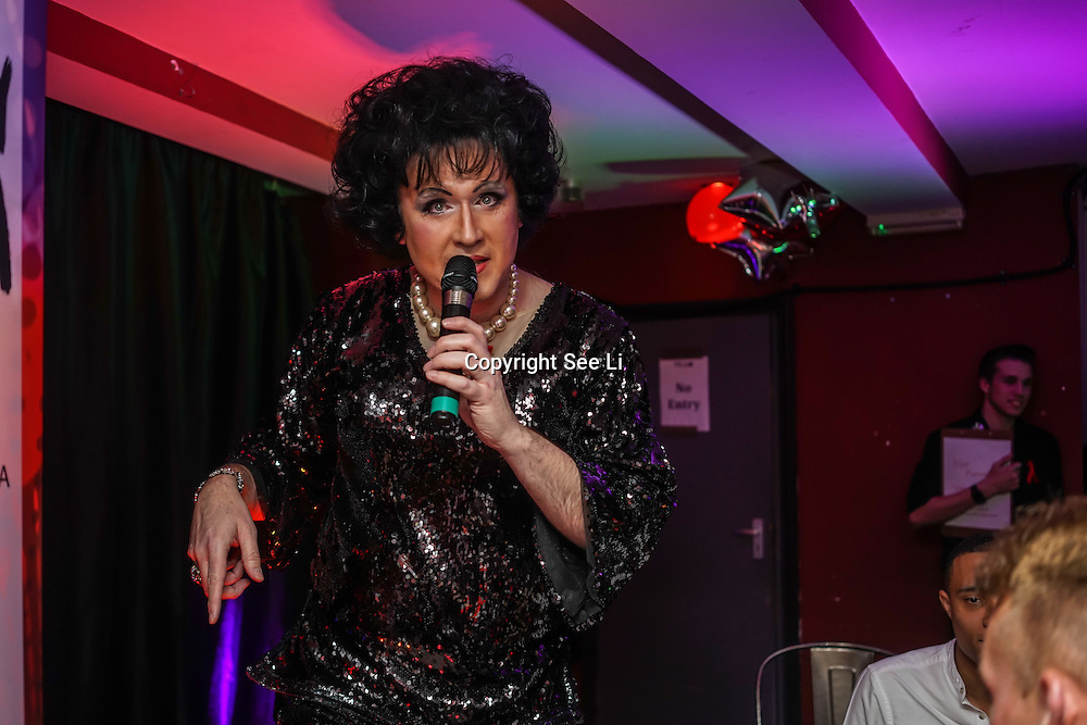 Wilma Ballsdrop takes the stage at Muse in Soho for one night to help raise money for GMFA – The gay men's health charity and their HIV prevention and stigma-challenging work on 1st December 2016 in Soho,London,UK. Photo by See Li
