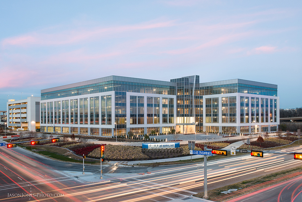 Commercial Real Estate photography, 3400 City Line Richardson Texas. Commercial office space featured in a dusk, twilight shot of the property.