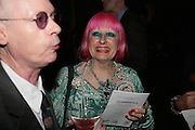 Anthony Fawcett and Zandra Rhodes, ' Show Off' Theo Fennell exhibition co-hosted wit Vanity Fair. Royal Academy. Burlington Gdns. London. 27 September 2007. -DO NOT ARCHIVE-© Copyright Photograph by Dafydd Jones. 248 Clapham Rd. London SW9 0PZ. Tel 0207 820 0771. www.dafjones.com.
