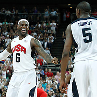 12 August 2012: USA Kevin Durant and LeBron James celebrate at the end of the 107-100 Team USA victory over Team Spain, during the men's Gold Medal Game, at the North Greenwich Arena, in London, Great Britain.