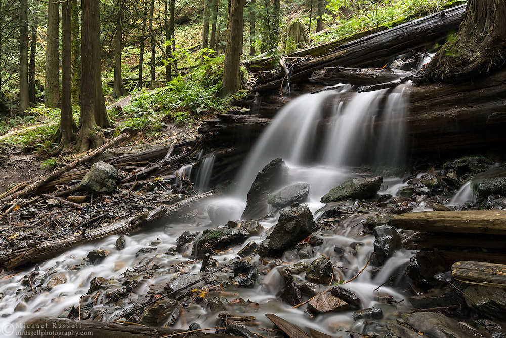 Small waterfall on Bridal Creek in Bridal Veil Falls Provincial Park, Chilliwack, BC.