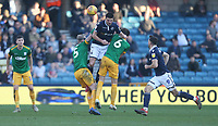 Millwall's Jed Wallace is challenged by Preston North End's Tom Clarke and Ben Davies<br /> <br /> Photographer Rob Newell/CameraSport<br /> <br /> The EFL Sky Bet Championship - Millwall v Preston North End - Saturday 23rd February 2019 - The Den - London<br /> <br /> World Copyright © 2019 CameraSport. All rights reserved. 43 Linden Ave. Countesthorpe. Leicester. England. LE8 5PG - Tel: +44 (0) 116 277 4147 - admin@camerasport.com - www.camerasport.com