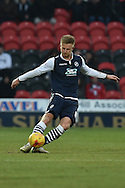 Byron Webster of Millwall FC kicks forward  during the Sky Bet League 1 match between Doncaster Rovers and Millwall at the Keepmoat Stadium, Doncaster, England on 27 February 2016. Photo by Ian Lyall.