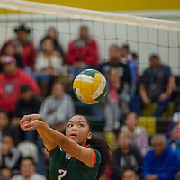 Wingate middle hitter Sieyanne Platero (2), hits a forearm pass for the Bears, against the Hawks in Thoreau Tuesday night.