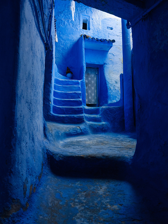 CHEFCHAOUEN, MOROCCO - CIRCA MAY 2018: Typical door and entryway of the streets of Chefchaouen