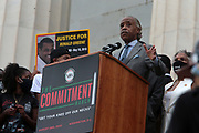 WASHINGTON, D.C.: AUGUST 28, 2020- Rev. Al Sharpton, President & CEO, National Action Network and MSNBC On-air personality, Civil Rights Activist Martin Luther King III and others speakers along with the families of Jacob Blake, George Floyd, Breonna Taylor, Eric Garner, Rayshard Brooks, Ahmaud Arbery & many others convene the 57th Anniversary of the historic 'March on Washington' National Action Network (NAN) for a March on Washington in protest of police brutality held at the Lincoln Memorial on August 28, 2020 in Washington, D.C.  Photo Photo credit: Terrence Jennings/terrencejennings.com