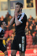 Sam Winnall of Barnsley FC in dispare at missing penalty during the Sky Bet League 1 match between Scunthorpe United and Barnsley at Glanford Park, Scunthorpe, England on 31 October 2015. Photo by Ian Lyall.