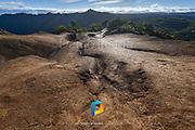 A view looking down a ridge of the Waimea Canyon in Kauai, Hawaii.