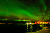 Northern Lights (Aurora Borealis), A harbor on Gimsoya Island, Lofoten Islands, Arctic, Northern Norway.