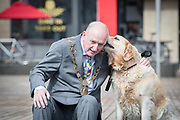 NO FEE PICTURES                                                                                                                                            9/5/19 Lord Mayor Nial Ring with his dog Orby the labrador retriever  at the launch of Ireland's favourite animal friendly event, Pets in the City, which will take place in Dublin's Smithfield Square on Sunday May 19th from 1130am to 430pm. Picture: Arthur Carron