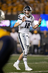 Nevada quarterback Carson Strong (12) signals an audible to his team during the second quarter of an NCAA college football game against California, Saturday, Sept. 4, 2021, in Berkeley, Calif. (AP Photo/D. Ross Cameron)