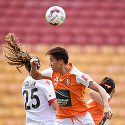 BRISBANE, AUSTRALIA - NOVEMBER 17: Cheung Wai Ki of the Roar heads the ball during the round 4 Westfield W-League match between the Brisbane Roar and Adelaide United at Suncorp Stadium on November 17, 2017 in Brisbane, Australia. (Photo by Patrick Kearney / Brisbane Roar)