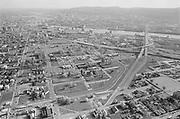 Y-750430B-19. aerial of Williams Ave. district after Emanuel demolitions. April 30, 1975