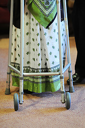An elderly Sikh lady in a care home, Bradford, West Yorkshire