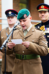 Lance Corporal Clark of the Royal Engineers reads out the Victoria Cross Citation as the London Borough of Haringey and representatives of the Armed Forces honour Lieutenant-Colonel Sir Brett Mackay Cloutman VC MC KC with the unveiling of the final London Victoria Cross Commemorative paving stone in Hornsey, London. November 06 2018.
