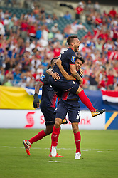 July 19, 2017 - Philadelphia, Pennsylvania, U.S - Costa Rica defender KENNER GUTIÆ'RREZ (5) and Costa Rica defender GIANCARLO GONZçLEZ (3) celebrate the goal during CONCACAF Gold Cup 2017 action at Lincoln Financial Field in Philadelphia, PA.  Costa Rica defeats Panama 1 to 0. (Credit Image: © Mark Smith via ZUMA Wire)