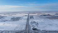 Aerial view of the Manitoba prairie landscape on a cold winter morning.