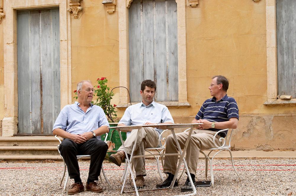 Christophe Blanc Chateau de Montpezat. Pezenas region. Languedoc. In the garden. Owner winemaker. France. Europe.