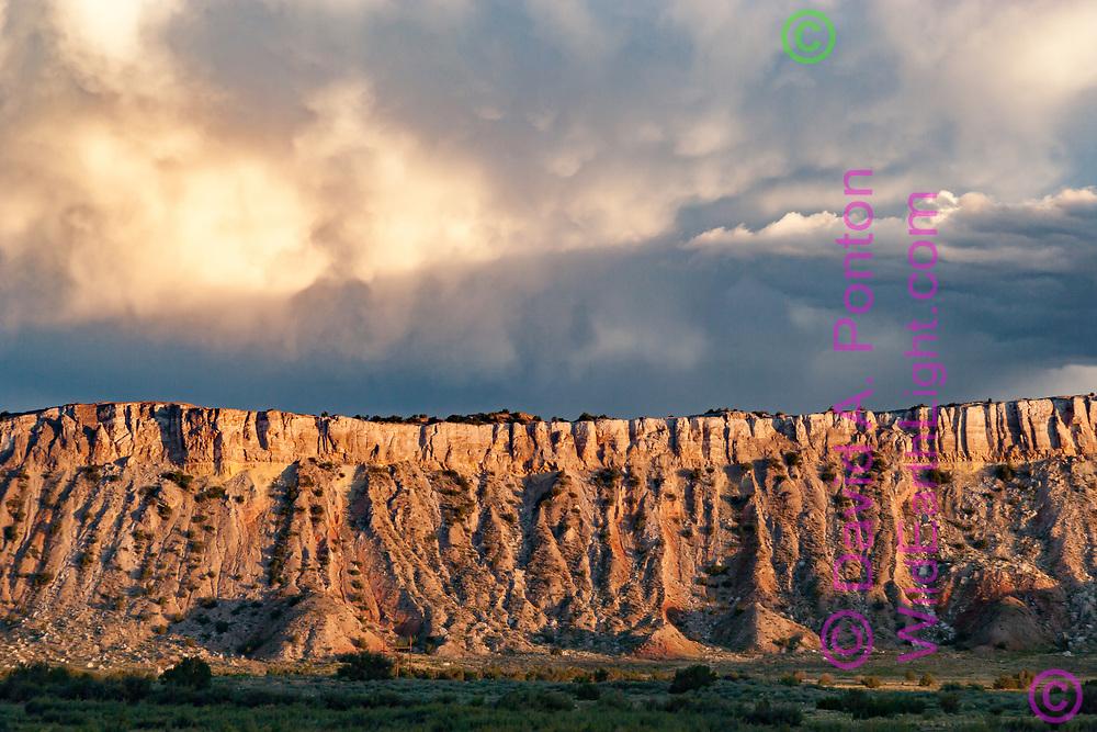 Last sunlight on the cliffs of White Mesa, New Mexico, © David A. Ponton