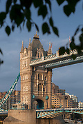 Tower Bridge at sunrise seen from south bank of river, London, England, UK